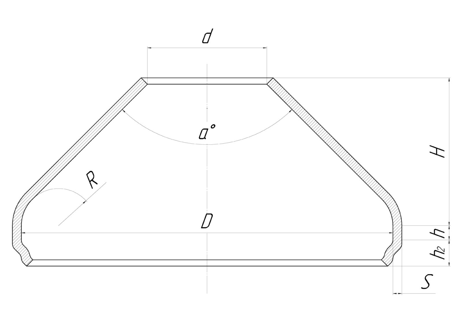 Днище коническое из металла обработанное чертеж