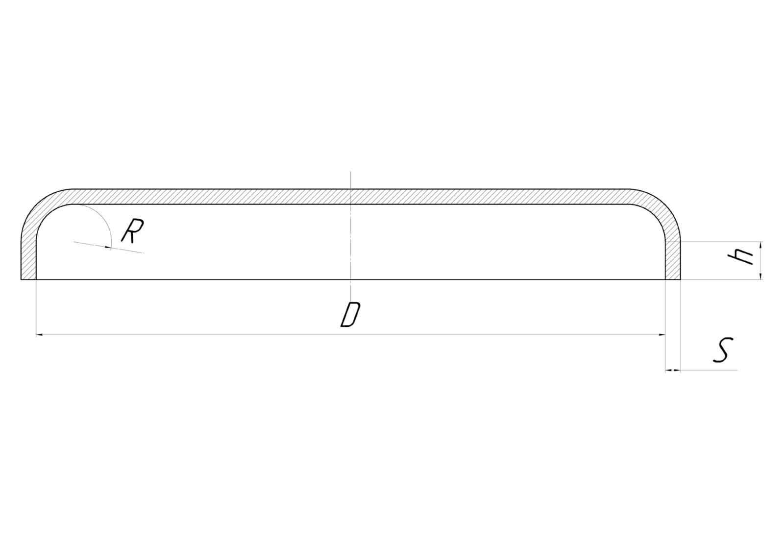 Днище коническое прямое из металла - ротационная вытяжка чертеж