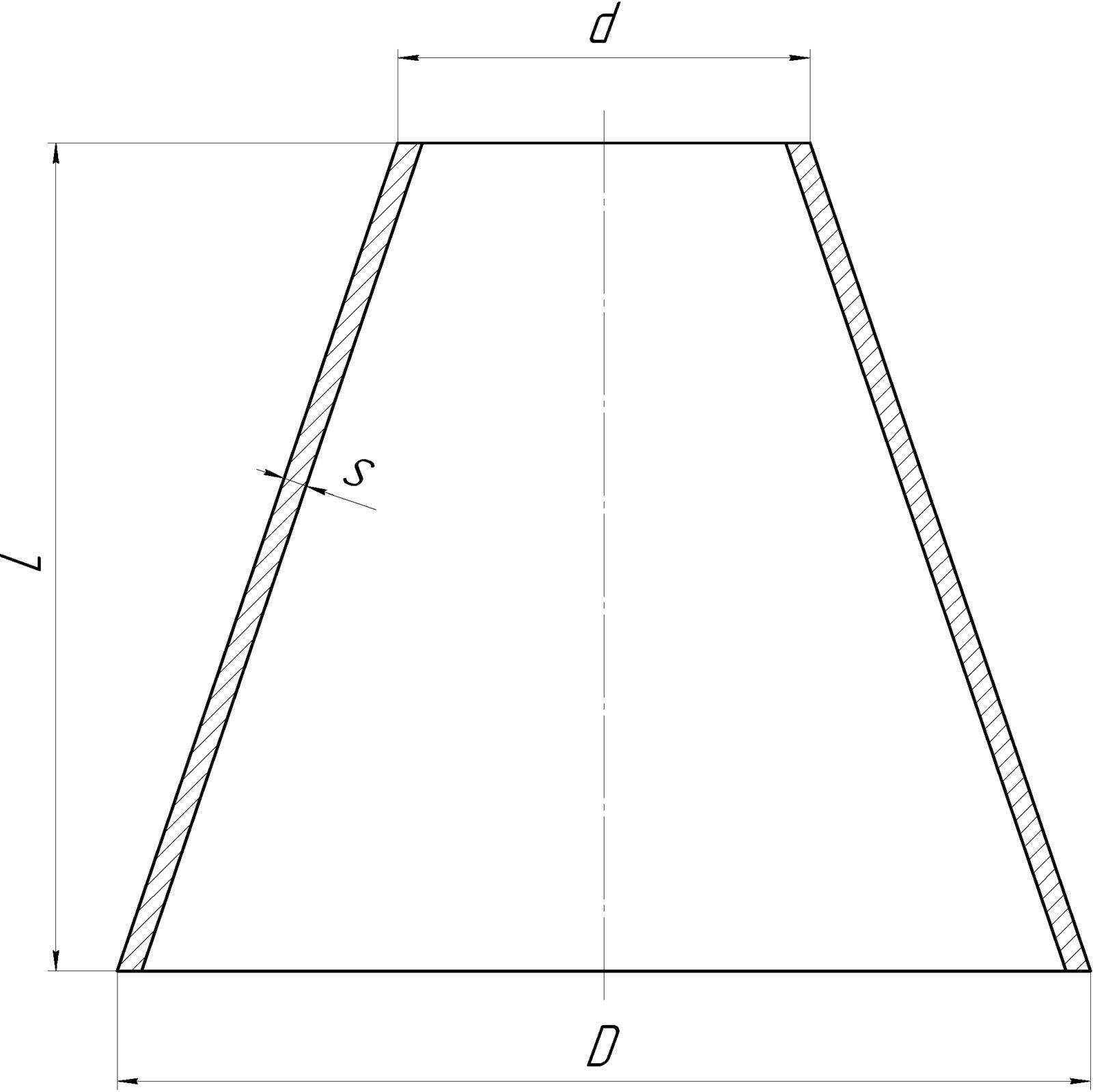 Обечайка коническая Толщина до до 9 мм Чертеж